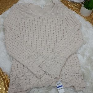 Style and co open knit sweater river rock